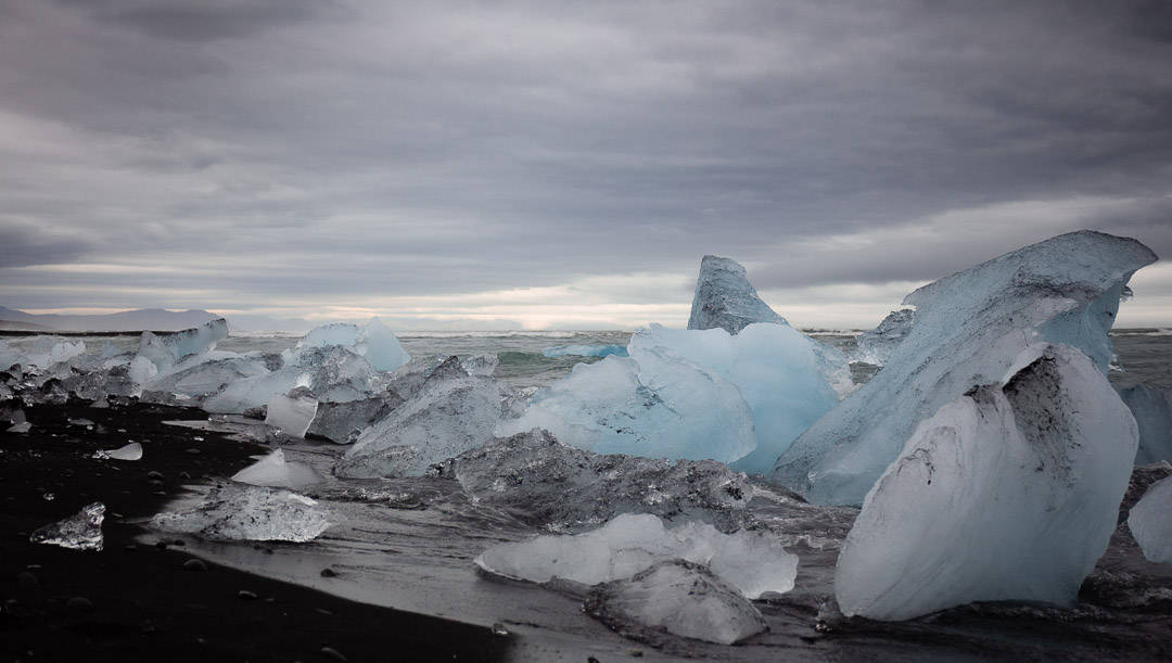 The icebergs on the beach at Diamond beach