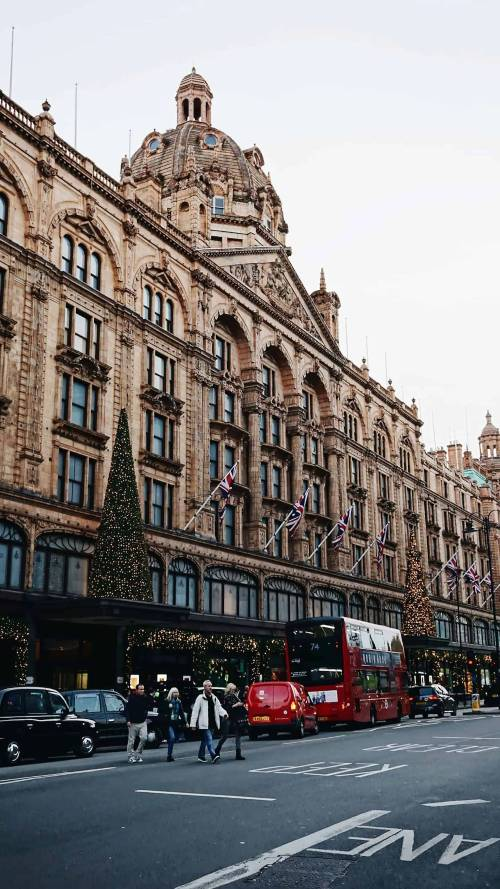 The exterior of the harrods shop at Christmas in London