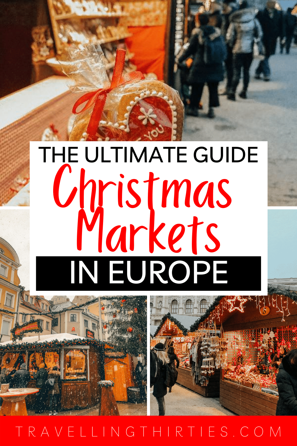 A pinterest graphic for a GUIDE FOR THE CHRISTMAS MARKETS IN EUROPE