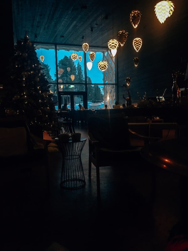 A restaurant with a large Christmas tree and lights hanging