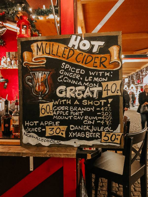 Hot Mulled Cider menu board