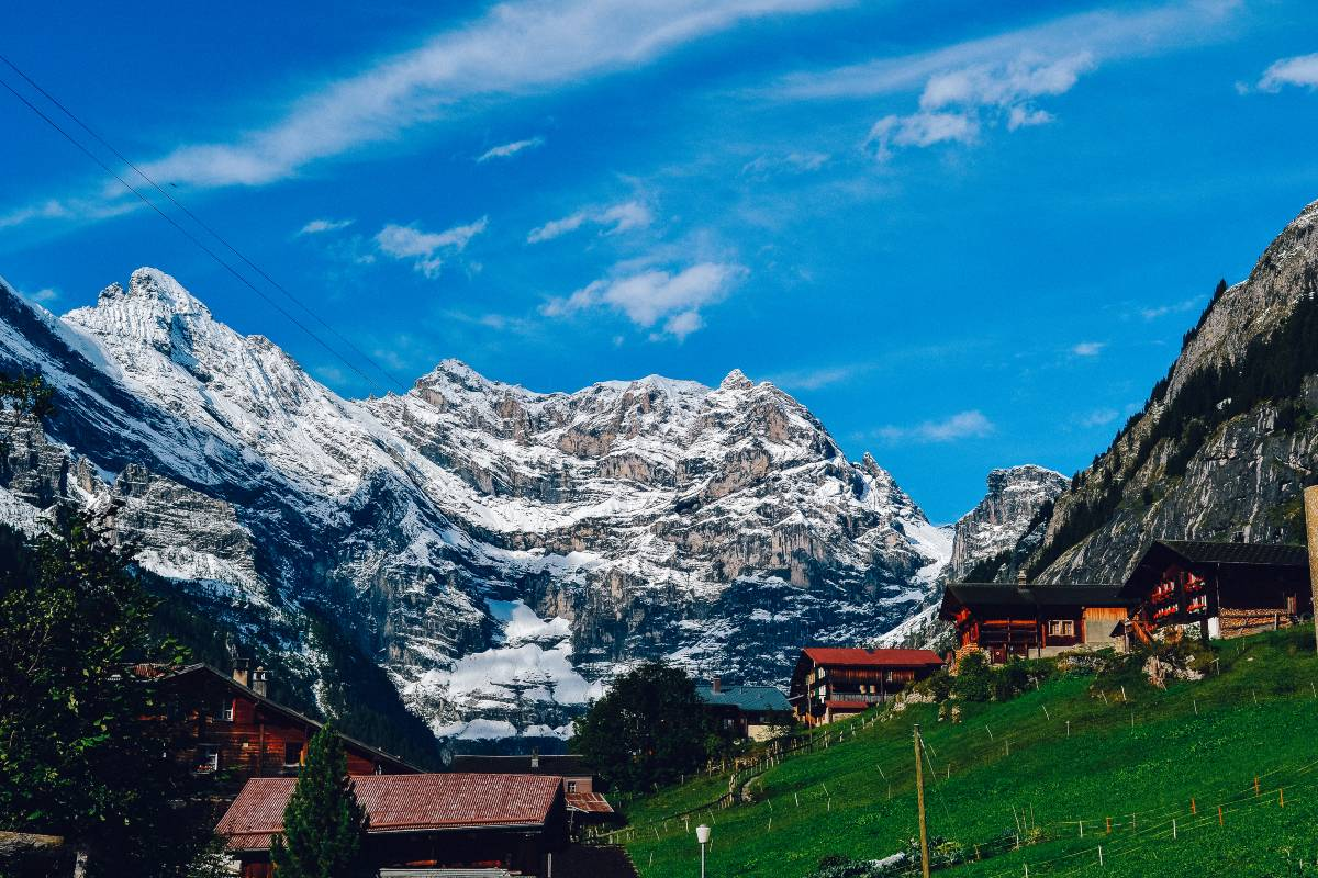 A swiss town in the middle of the swiss alps