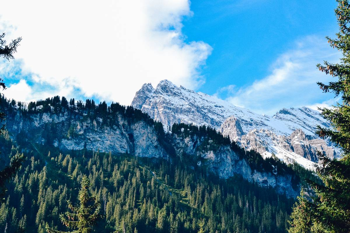 The snow capped mountains on the hike from Gimmelwald to Murren