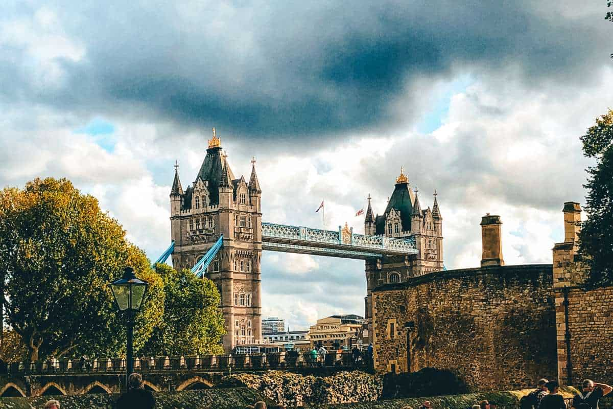 Tower Bridge in London with dark clouds over head