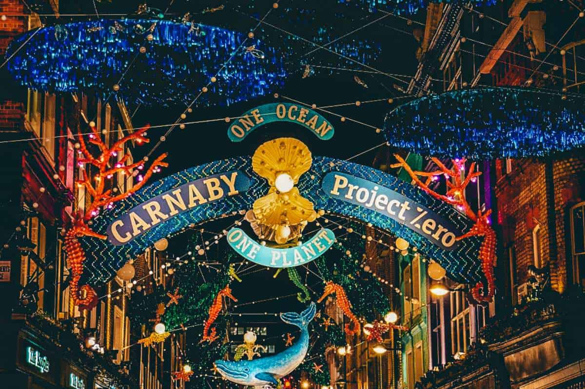 Carnaby street in London filled with sea animal Christmas decorations and lights