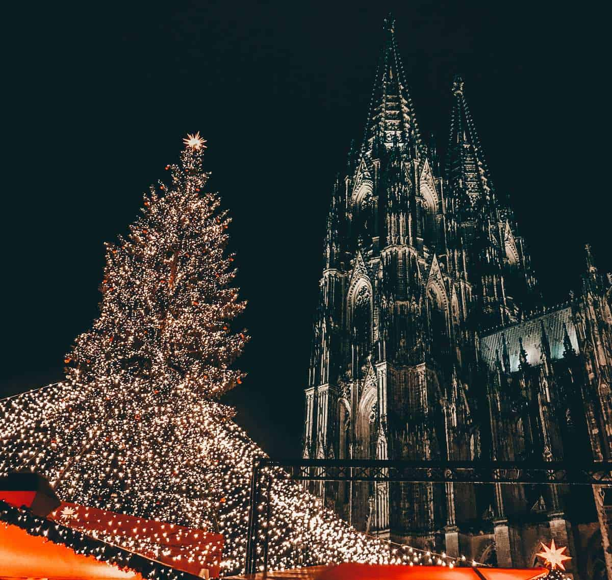 Cologne cathedral at night with a lit Christmas tree and red rooves below