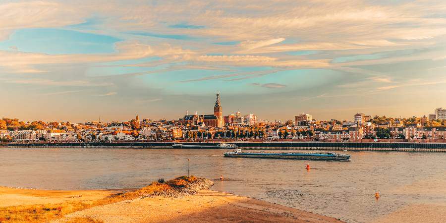 A view across the river to the city of Nijmegen in autumn