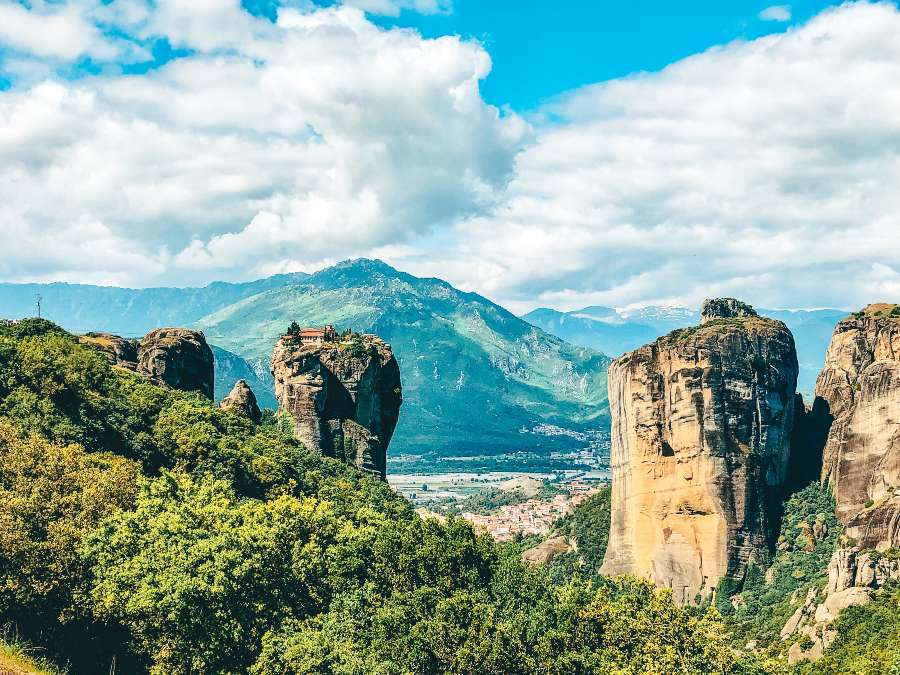 A view over the monasteries in Meteroa in Greece