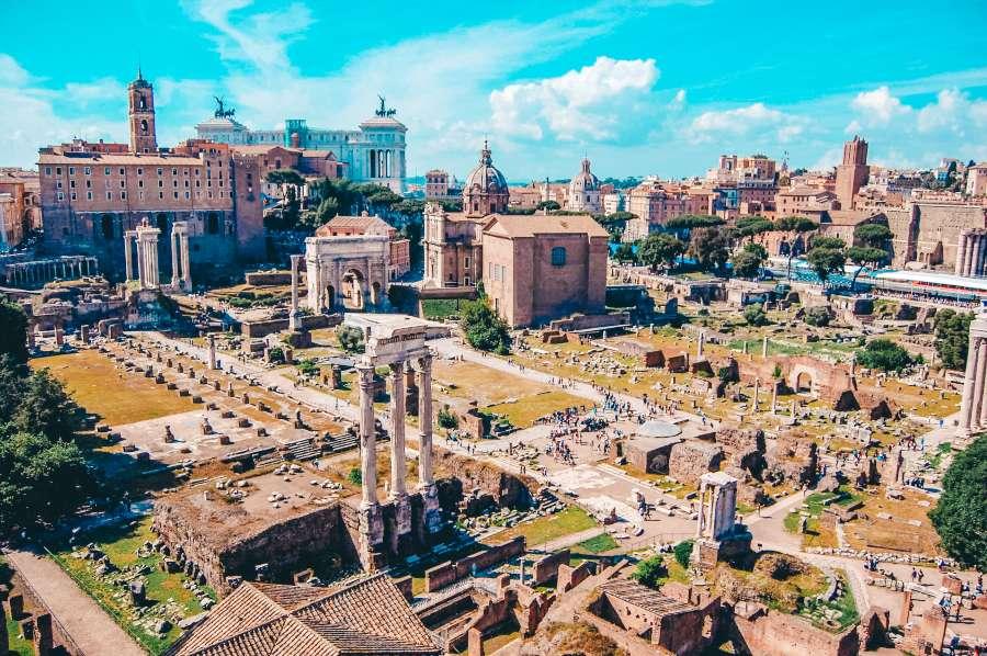 A view over Fori Imperiali in Rome