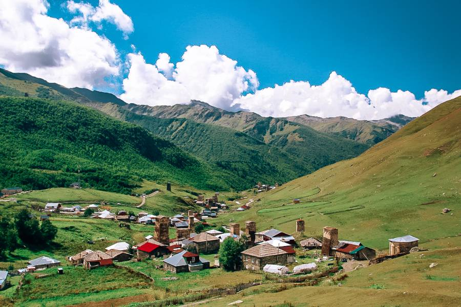 Little houses in the valley in the Caucasus  mountains
