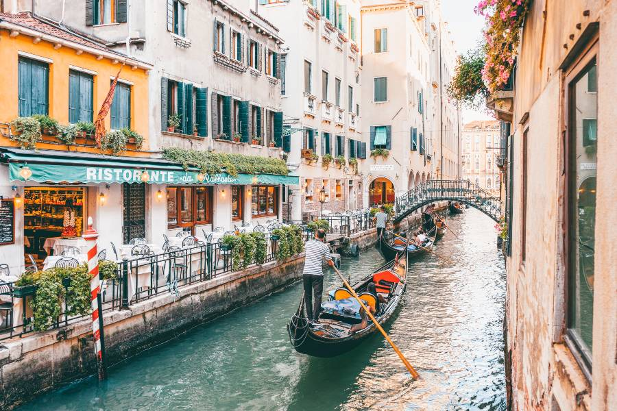 Gondola's floating down the canals in Venice