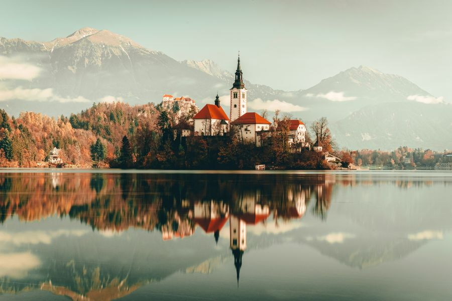 The church on the Island at Lake Bled