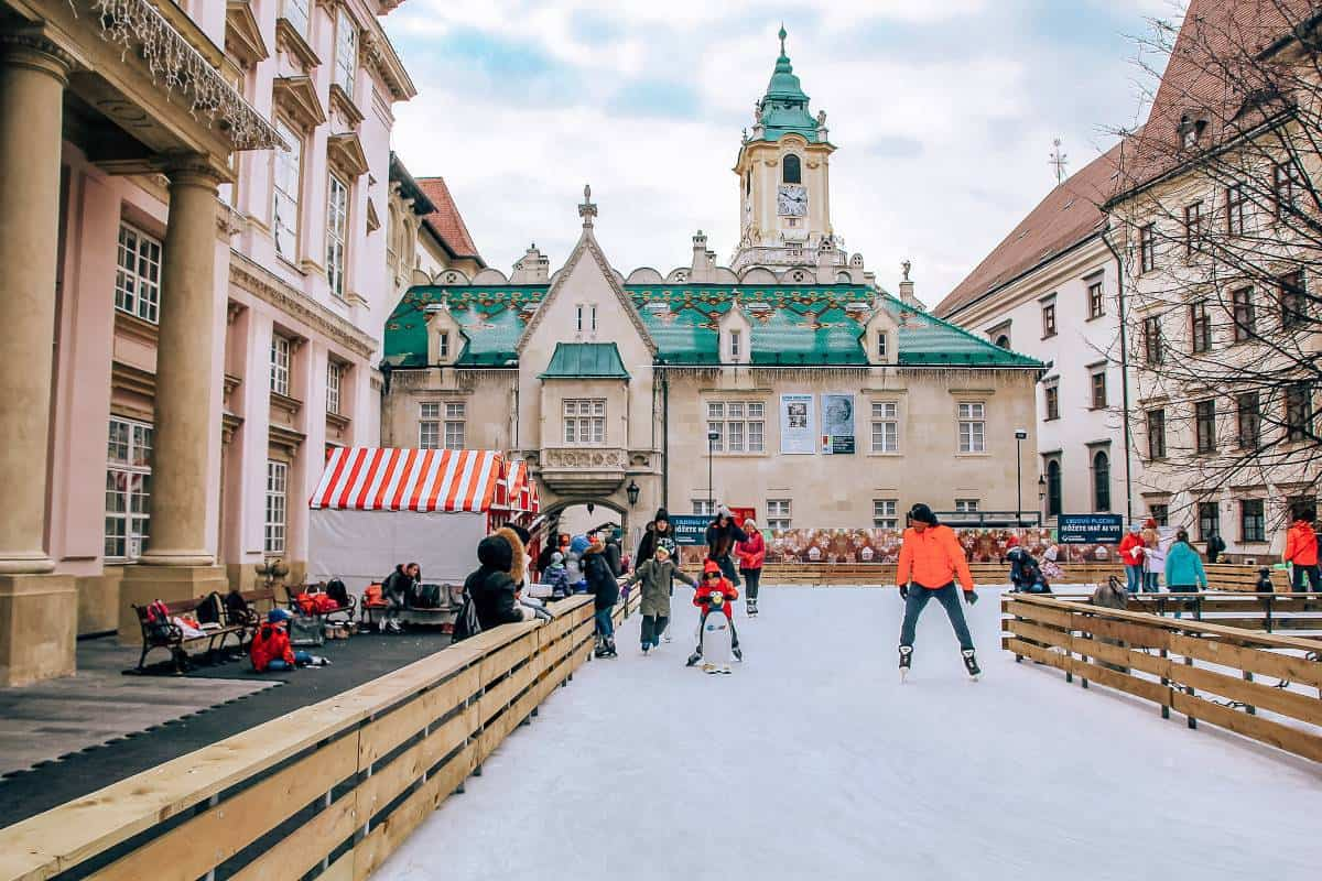 Ice skating rink in the old town of Bratislava