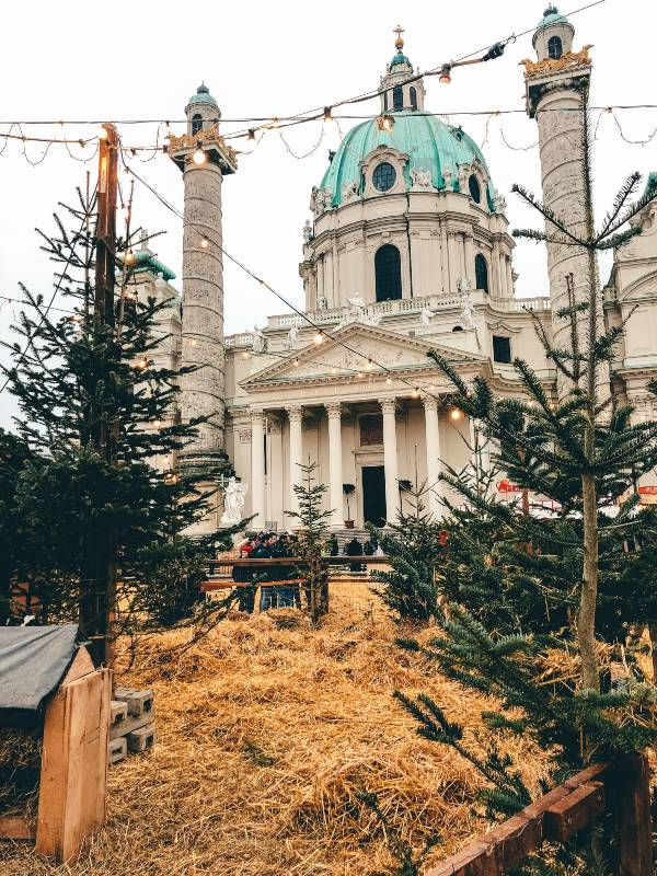 Christmas markets in Vienna during winter