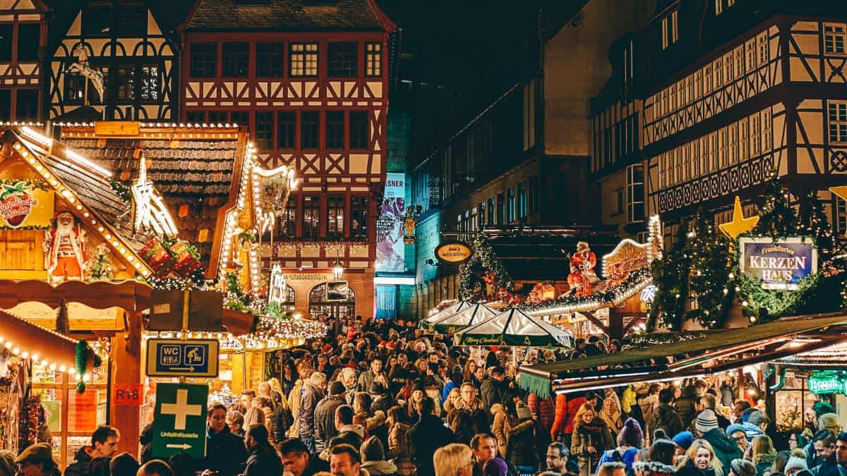 A Christmas market in the middle of Frankfurt Germany