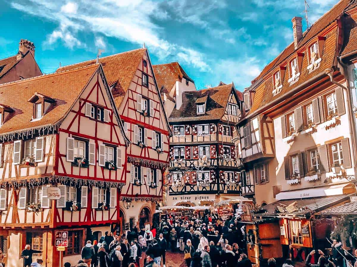 Buildings in Colmar covered in Christmas decorations