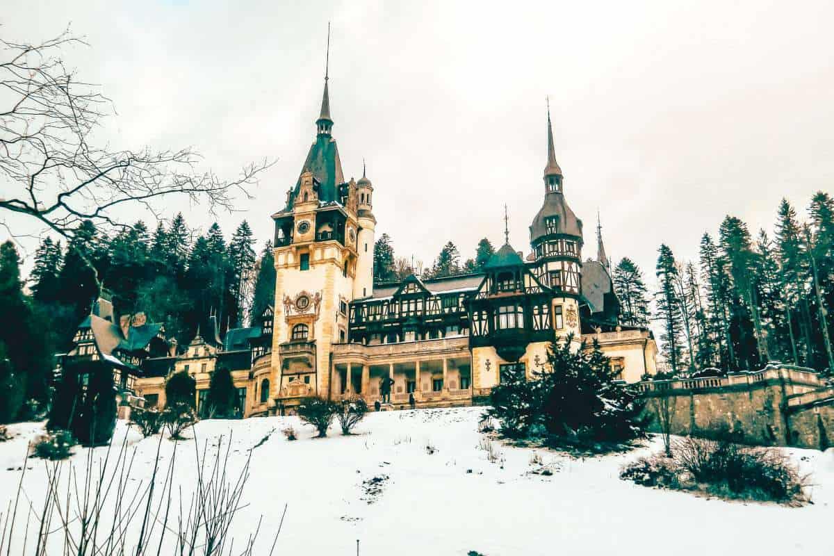 Sinaia Romania in winter covered in snow