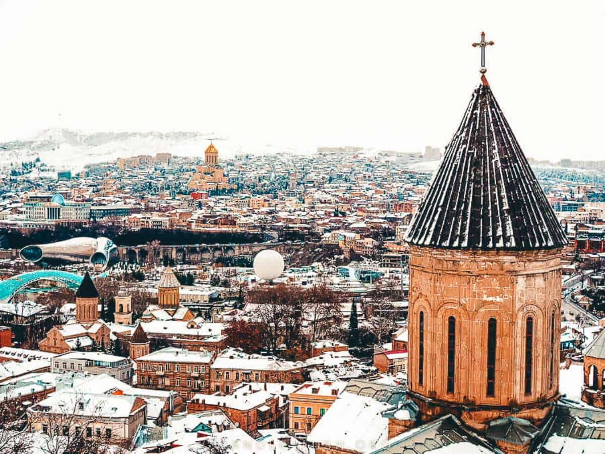 A view of Tbilisi covered in snow