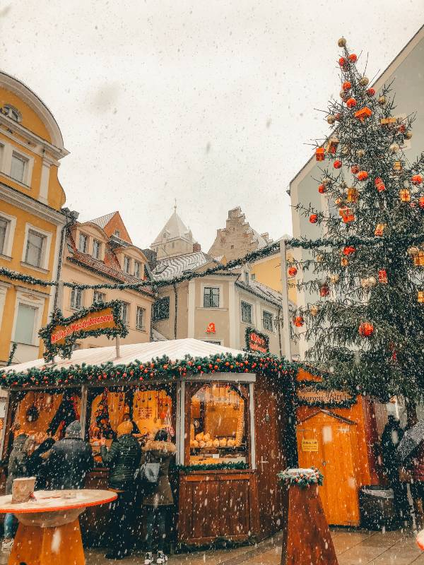 Snow Falling at Christmas Market in Regensburg