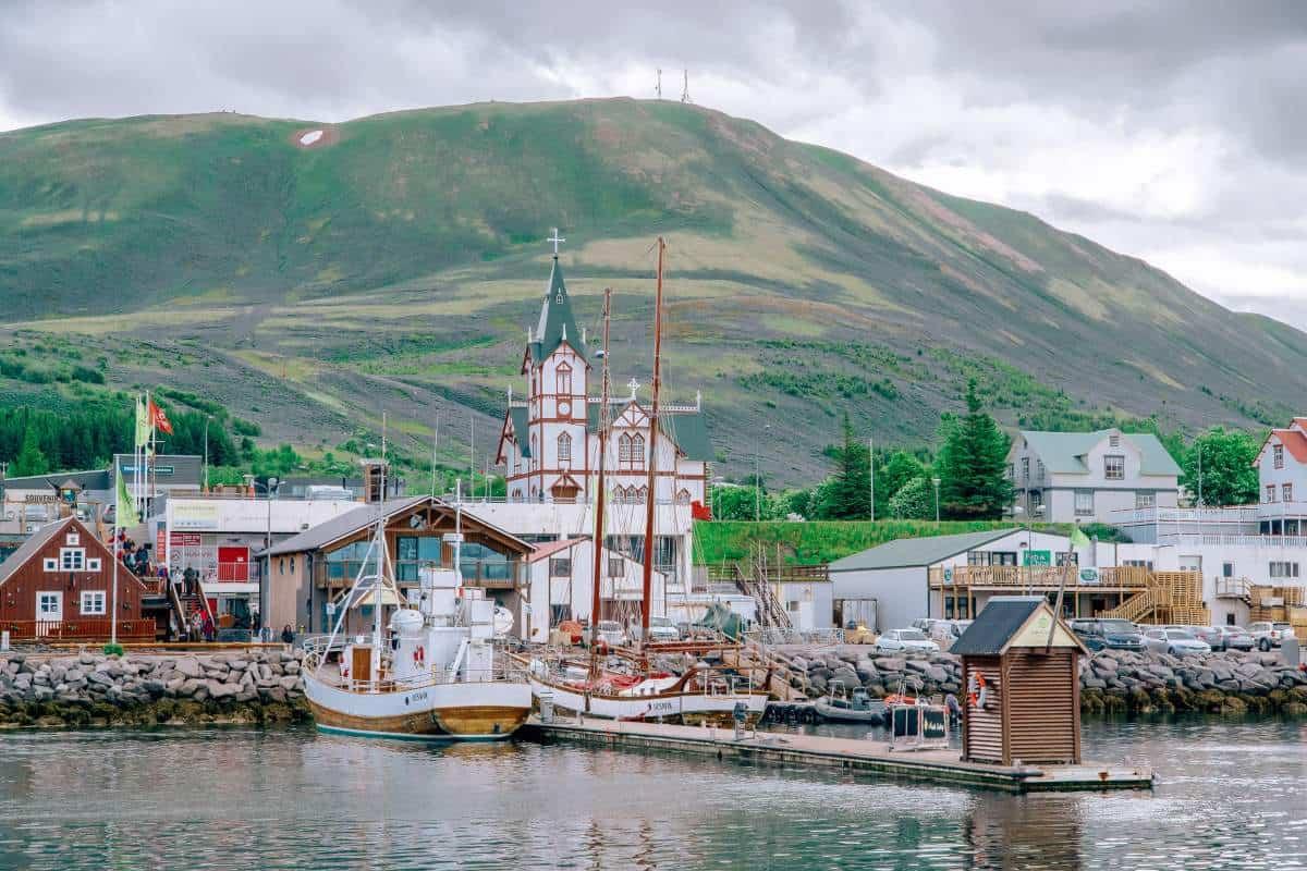 A wooden church behind the harbour in Húsavík