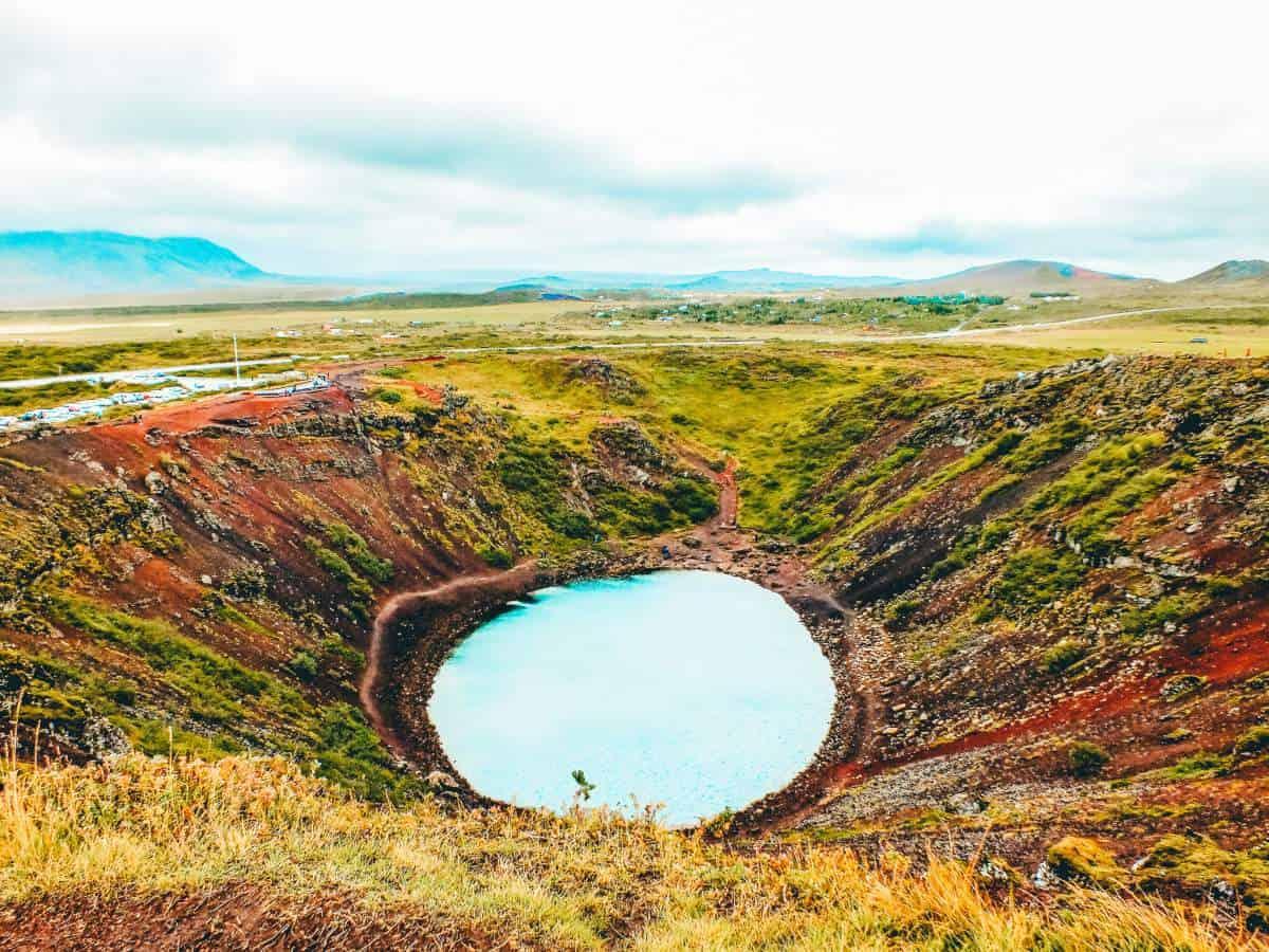 Aquamarine water in Kerid Crater