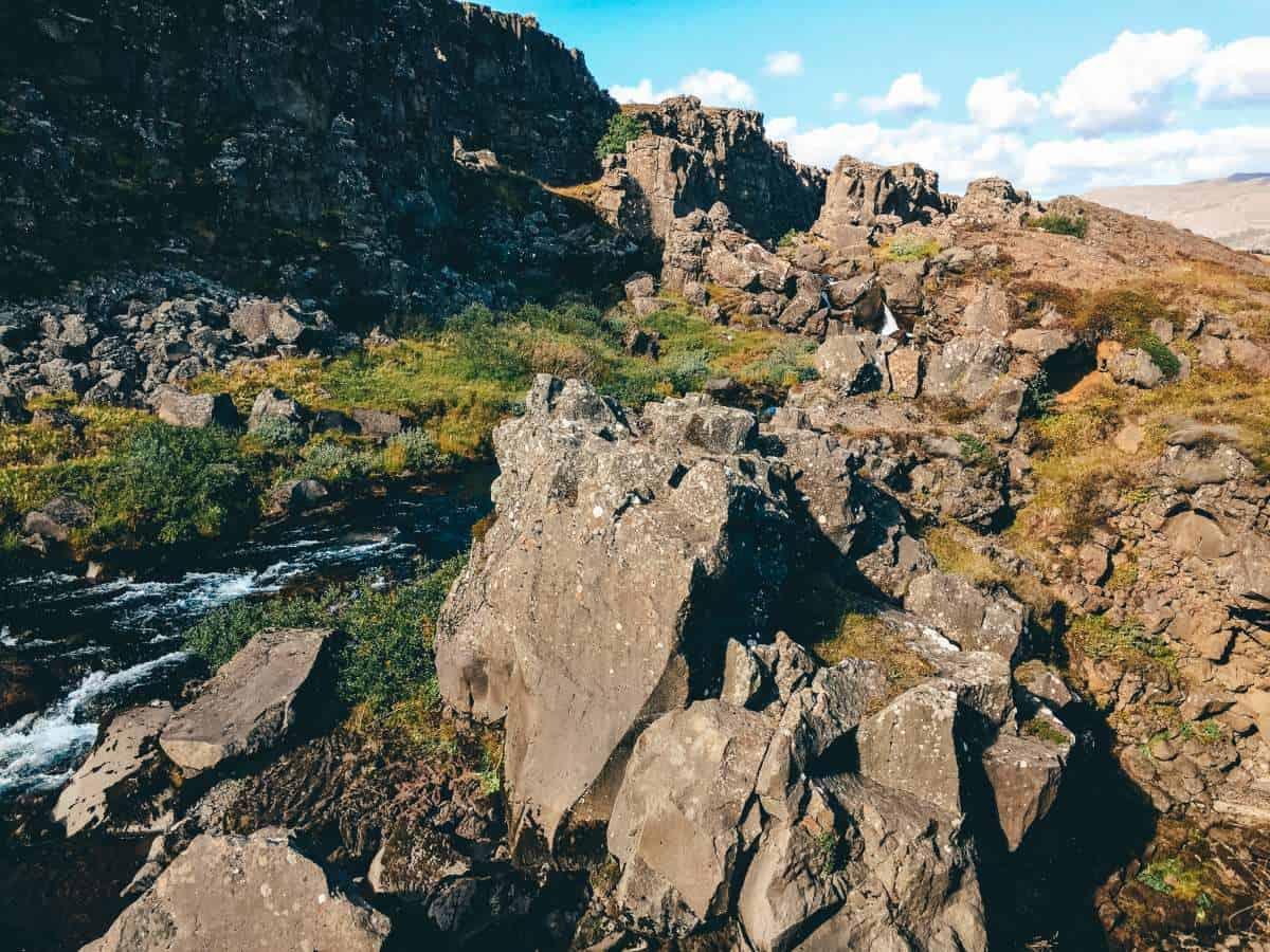 The rocks at the Thingvellir National Park