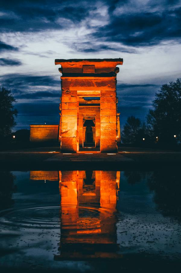 The arches of the Temple of Debod in Spain