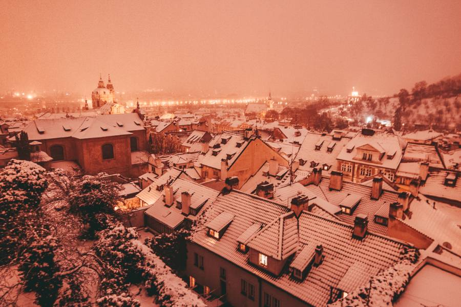Roofs covered in snow in Prague