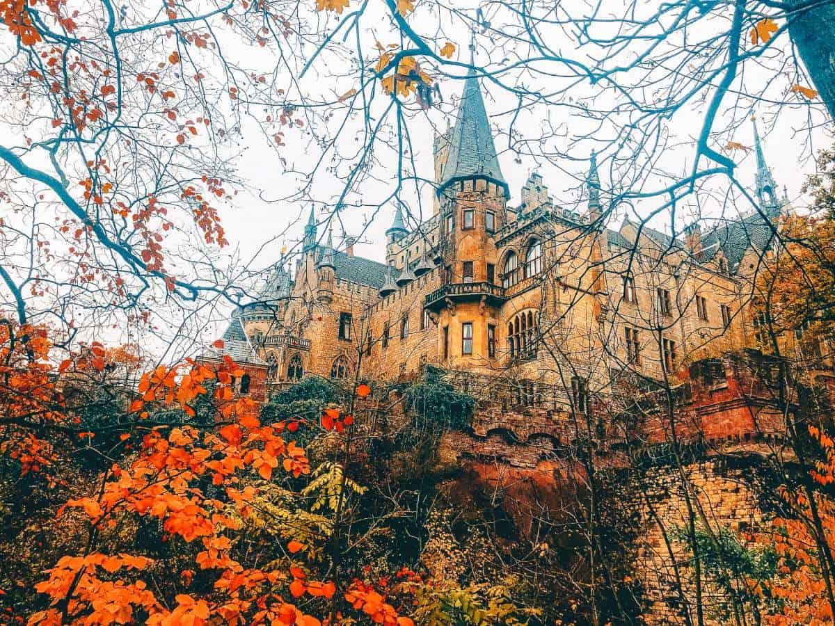 Autumns leaves surrounding Marienburg Castle