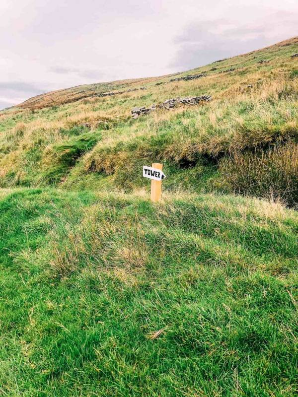 """A sign reading """"tower"""" on a grassy hill"""