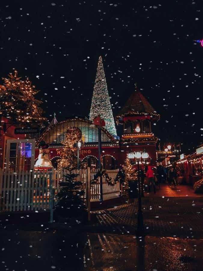 Snow falling at the Tivoli Christmas Market