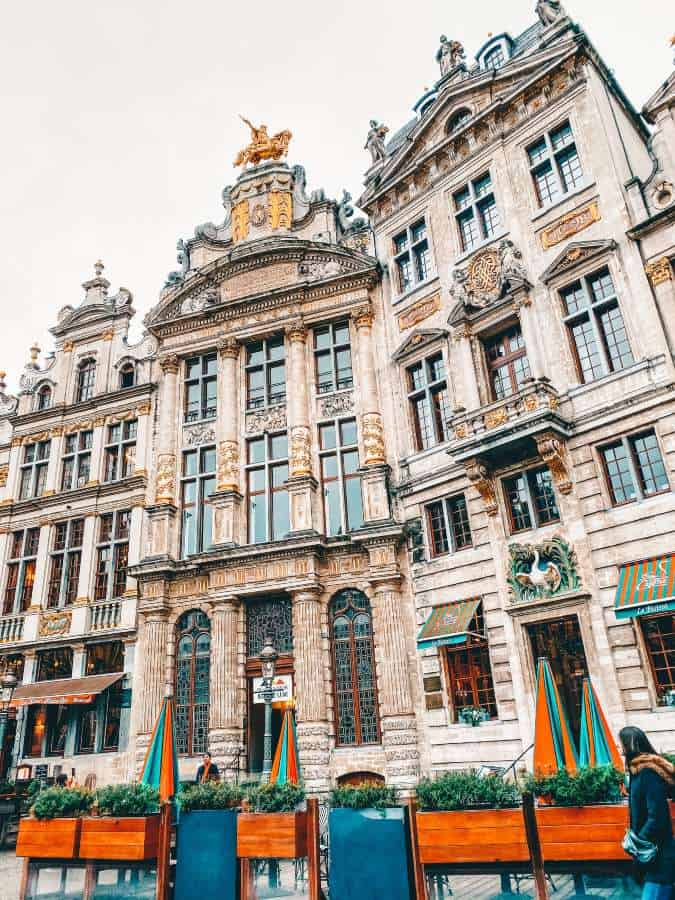 An old building at the end of the town square in Brussels, Belgium