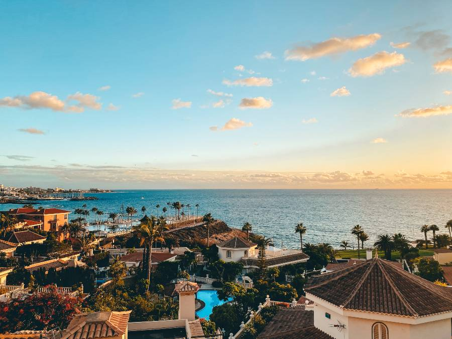 A view of Costa Adeje in Tenerife during the winter sun in Europe