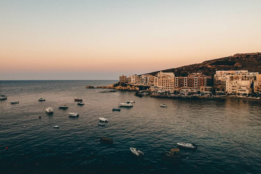 Sunsetting over the ocean in Gozo during winter