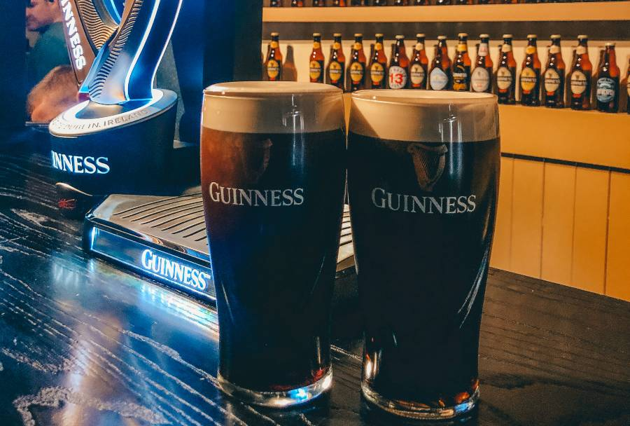 Two pints of Guinness at the Guinness factory