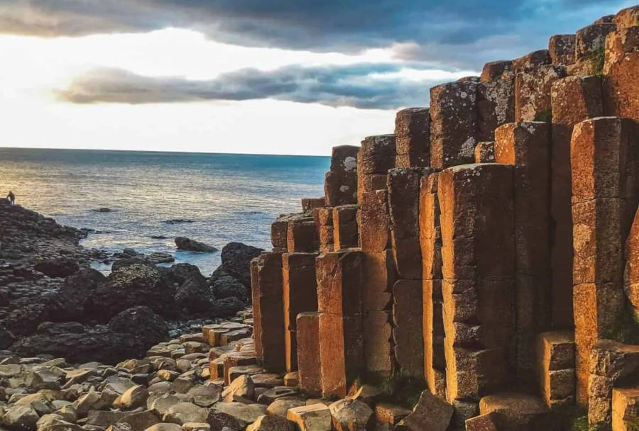 The giants causeway in Northern Ireland at Sunset