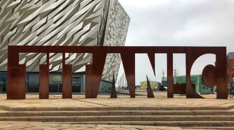 The titanic sign out the front of the titanic museum in Belfast
