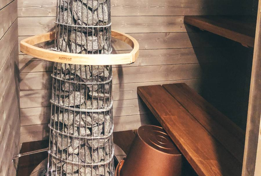 A wooden Finnish sauna at the Arctic Fox Igloos Finland