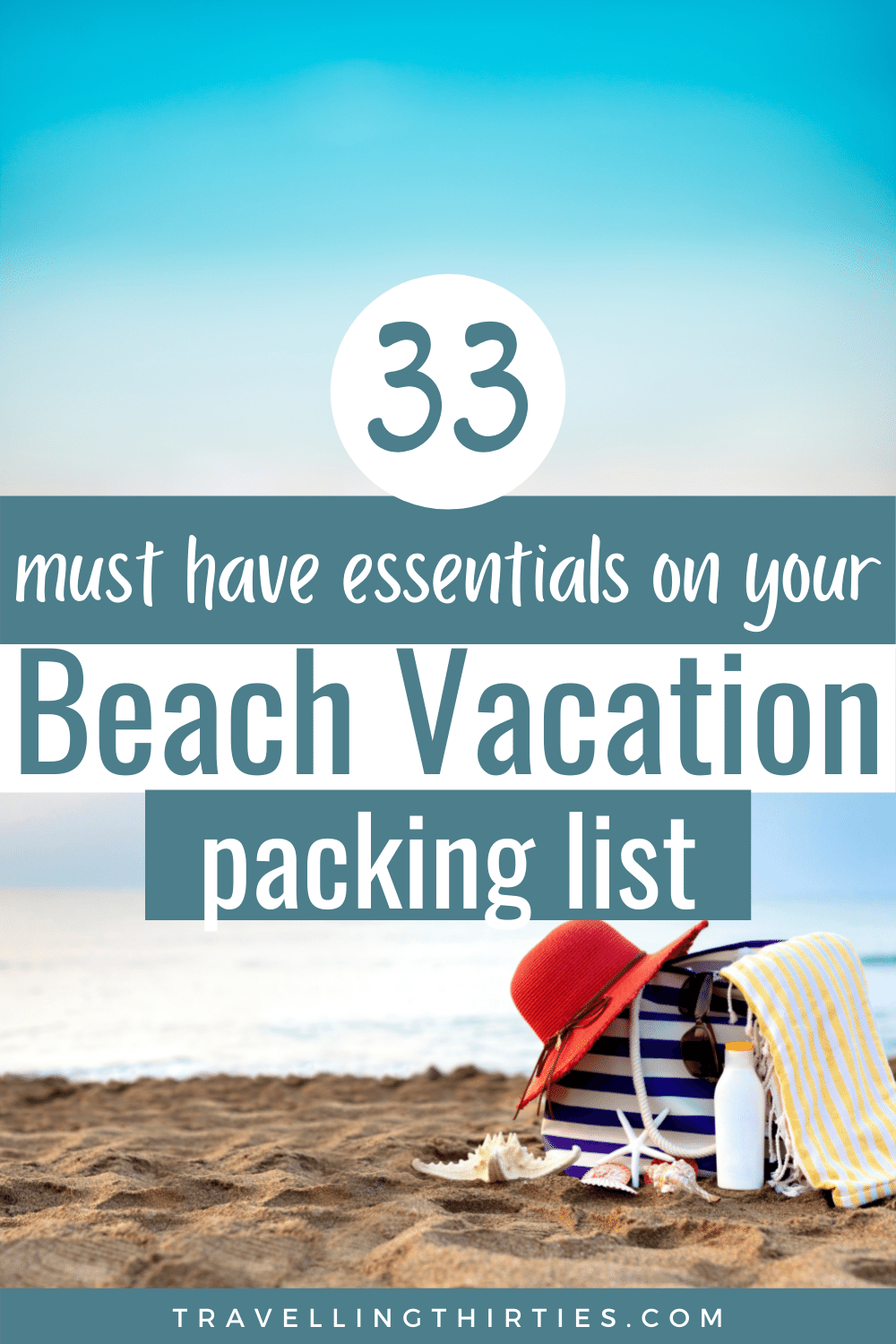 A pinterest graphic for a beach vacation packing list