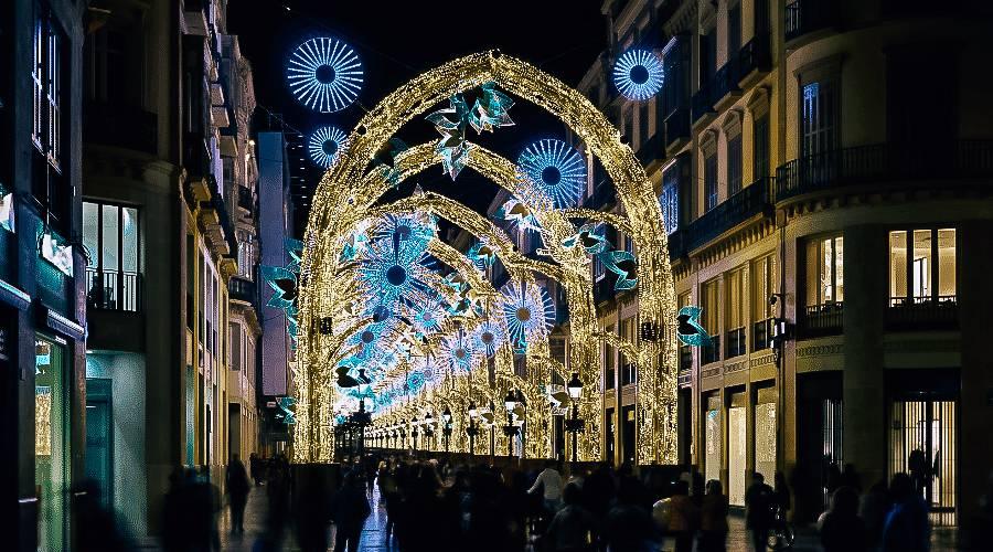 Christmas lights in Malaga, Spain