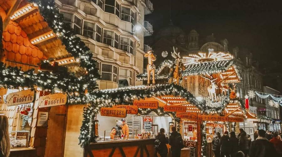 The German wooden Christmas market stalls in Birmingham