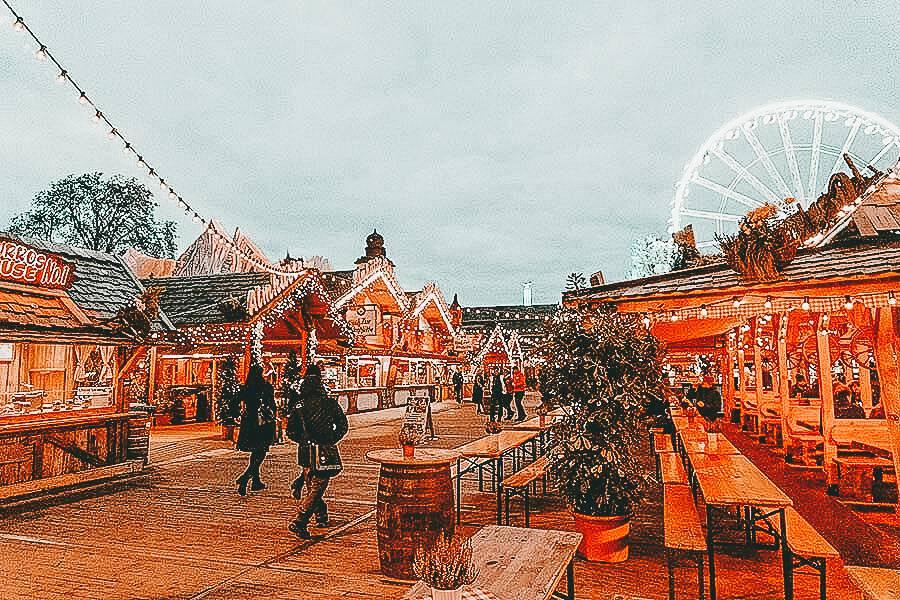 People walking through Christmas markets in London