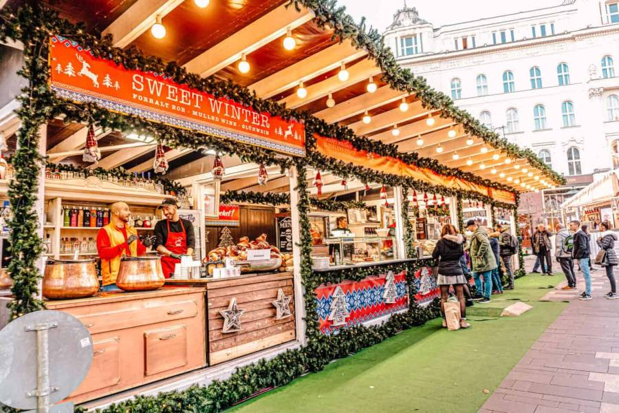 Christmas market stalls in Budapest