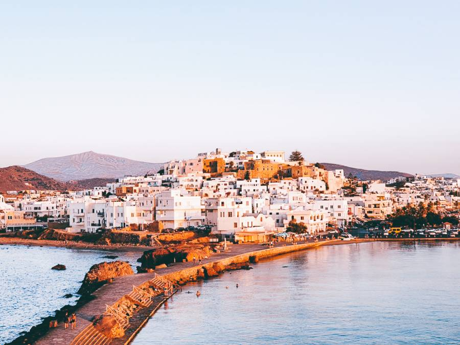 A view of Naxos in Greece from Portara