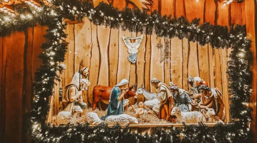 A nativity scene in wooden market stall