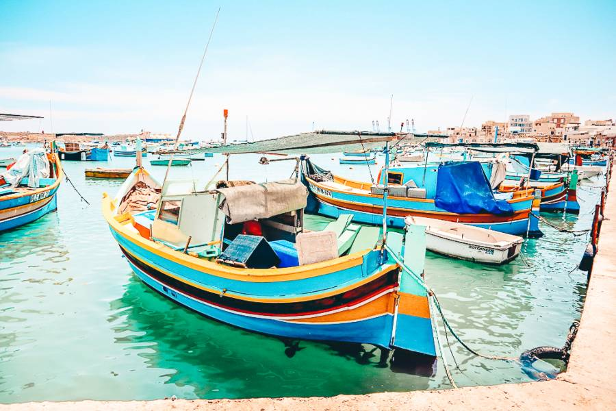 Boats floating in the ocean