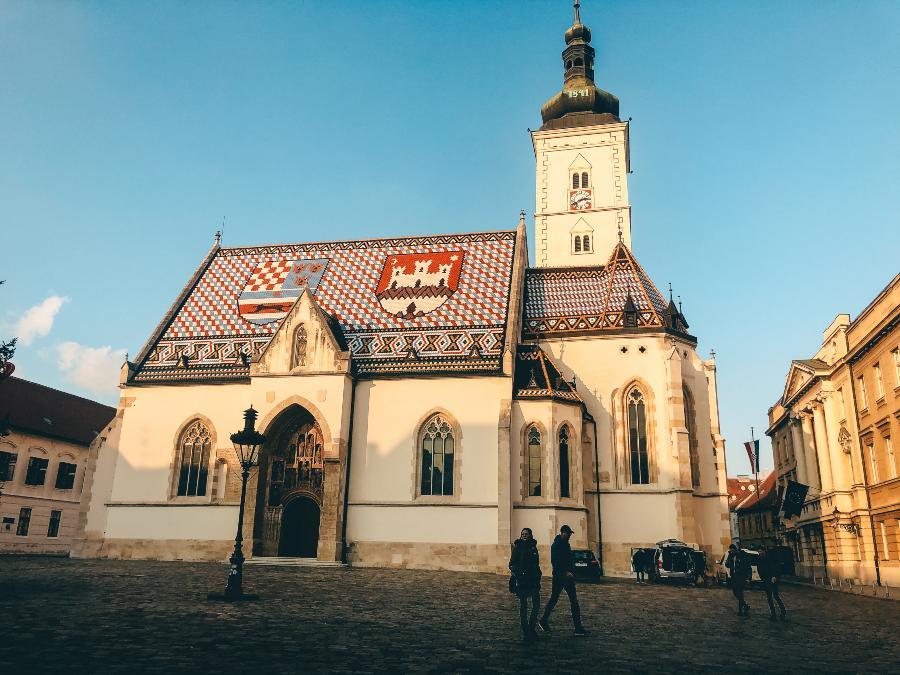 The decorated tiled roof of St Mark's Church in Zagreb