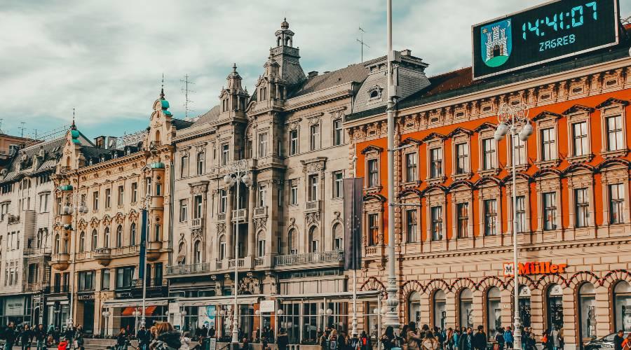 The old buildings surrounding Ban Josip Jelačić Square in Zagreb