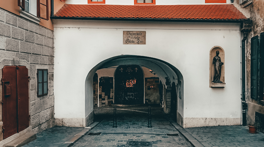 A stone gate in wall in Zagreb
