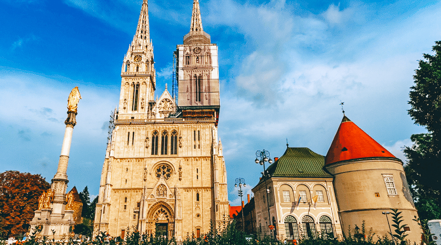 The Cathedral in Zagreb with the Mary Column in the foreground